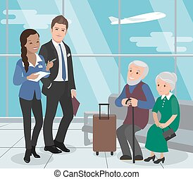 service., senioren, flight., portion, flughafen, vektor, ...