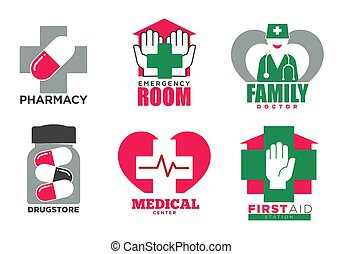 service, set., promotionnel, emblèmes, santé, médecine, aide