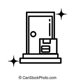 service, style, livraison, icône, ligne, porte