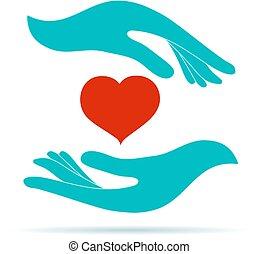service., symbole, donation, contribution., solidarité, main...