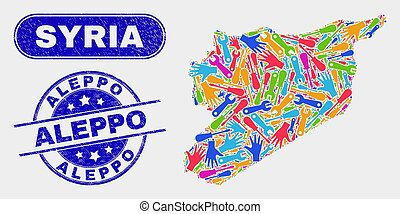 Service Syria Map and Scratched Aleppo Stamps - Component ...