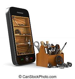 service, téléphone, image, isolé, arrière-plan., blanc, 3d