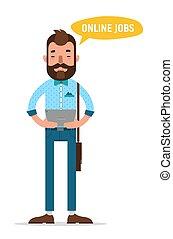 service., tablet, grondig, het kijken, werk, door, online, man