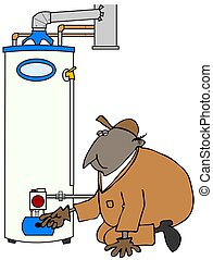 Service Tech checking water heater