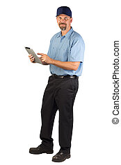 A blue collar service technician that could be a plumber, mechanic, heating and air conditioning guy, carpet installer, electrician, cable guy etc. taking an order on his mobile tablet.
