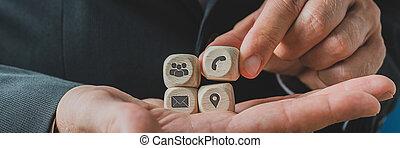service, tenue, client, contact, représentant, bois, dés