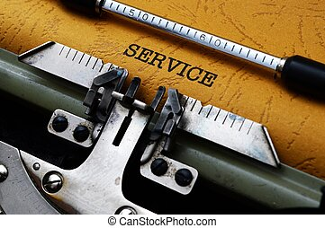 Service text on typewriter