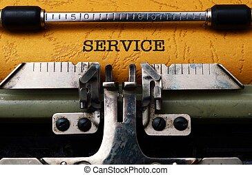 service, text, på, skrivmaskin