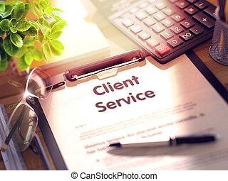 service, texte, clipboard., -, client, 3d.
