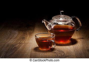 service thé, sur, a, table bois