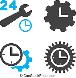 Service Time Flat Bicolor Vector Icons
