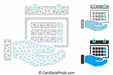 Service Timetable Vector Mesh Carcass Model and Triangle Mosaic Icon