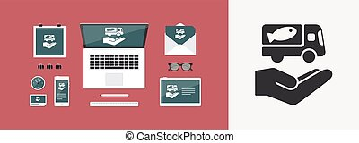 service toile, nourriture, -, livraison, vecteur, icône