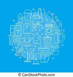 service, vecteur, nettoyage, illustration