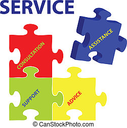 Service Vector - Vector illustration of puzzles with words...