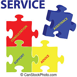 Service Vector - Vector illustration of puzzles with words ...