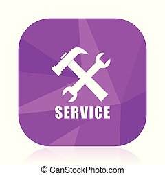 Service violet square vector web icon. Internet design and webdesign button in eps 10. Mobile application sign on white background.