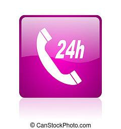 service violet square web glossy icon