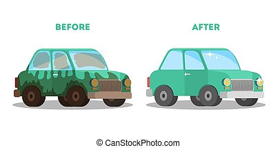 service, voiture, après, washing., laver, bannière, avant