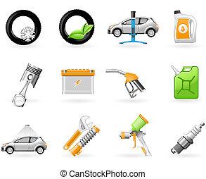 service voiture, ensemble, icône, réparation