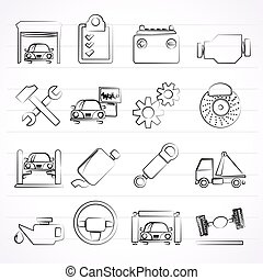 service voiture, entretien, icônes