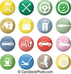 service voiture, icônes
