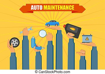 service, voiture, main, vecteur, tenue, affiche, outils