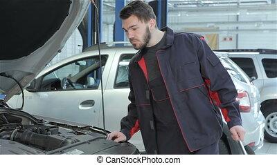 service, voiture, regarde, mécanicien, sous, capuchon