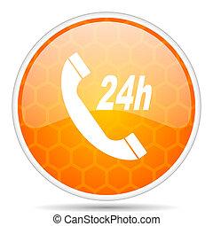 Service web icon. Round orange glossy internet button for webdesign.