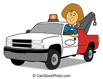 Service Woman and Tow Truck - A cartoon service woman is ...