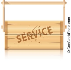 Service wooden box for various tools