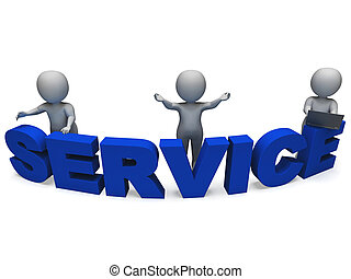 Service Word Shows Assistance Or Helpdesk