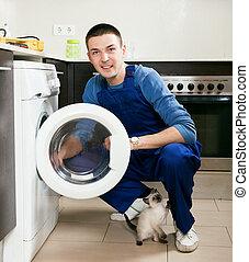 Service worker at home kitchen
