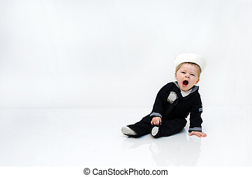 Service Worn - Adorable baby boy wears a navy serviceman...
