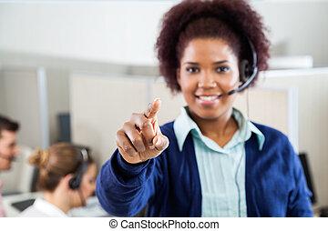 servicefachkraft, agent, zeigen, sie, in, anruf- mitte