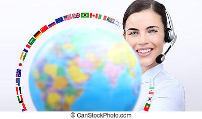 servicefachkraft, bediener, frau, mit, kopfhörer, lächeln, besitz, erdball, internationale kennzeichen, berühren us, begriff