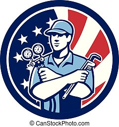 serviceman ac manifold gauge wrench CIRC USA-FLAG-ICON - ...
