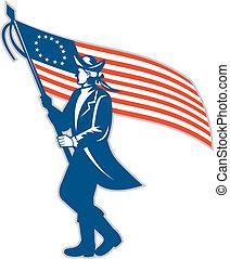 serviceman, amerikanische , winkende , soldat, fahne, retro
