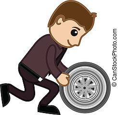 Serviceman Holding a Wheel