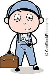 Serviceman with Tool and Briefcase - Retro Repairman Cartoon...