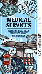 services, équipement, monde médical, croquis