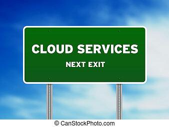 services, облако, дорога, знак