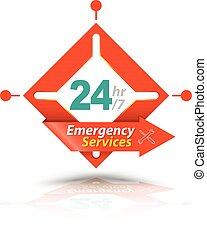 services, 24h, urgence, icône