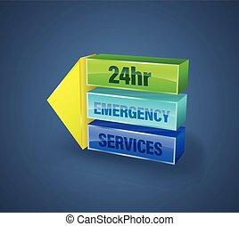services, 24hr, bannière, urgence