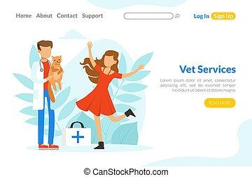 services, atterrissage, examiner, traitement, vétérinaire, vétérinaire, illustration médicale, prévention, healthcare, vaccination, page, traiter, vecteur, animaux familiers, docteur, gabarit, chat