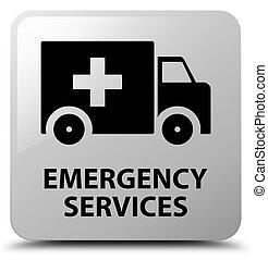services, blanc, carrée, bouton, urgence