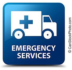 services, bleu, bouton, carrée, urgence