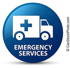 services, bleu, bouton, rond, urgence