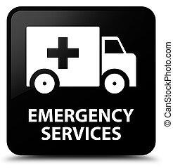 services, bouton, carrée, noir, urgence