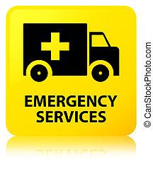 services, bouton, carrée, urgence, jaune